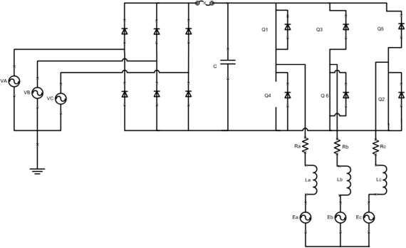 Equivalent circuit of AC-DC-AC inverter with motor