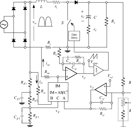 The schematic circuit of average current control boost