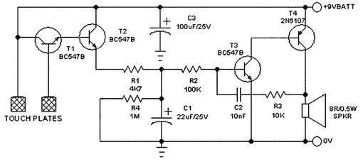 Circuit diagram of the transistor-based alarm circuit [17
