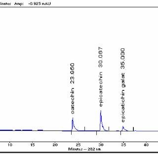 Resulting chromatogram for HPLC-UV analysis of Grape Seed