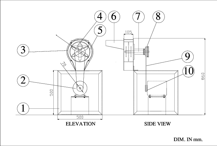 Schematic of design hammer mill 1-Main frame ,2-Single
