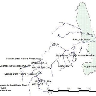Bioregions of South Africa showing the Olifants River