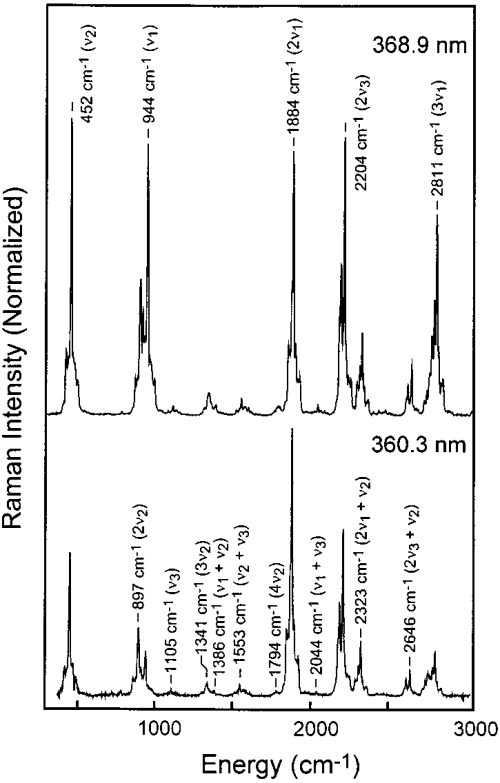 small resolution of resonance raman spectra of gas phase chlorine dioxide obtained with excitation wavelengths of 368 9 nm