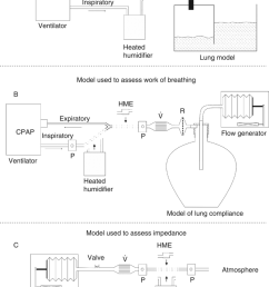 a ventilator evita 2 delivered volume controlled ventilation to a moisture proof physical lung model b model used for measurements of work  [ 850 x 1157 Pixel ]