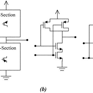 (a) Two series-connected (stacked) NMOS transistors. (b