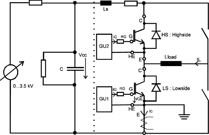 Test circuit for explosion tests. The fuse resistor Rs was