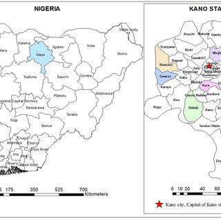 A geographic map showing the location of Kano State and