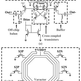 Schematic of the 60 GHz inductive-tuning VCO with the