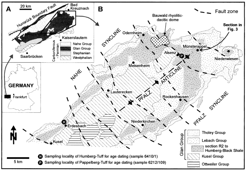 Geological maps showing A the distribution of the Upper