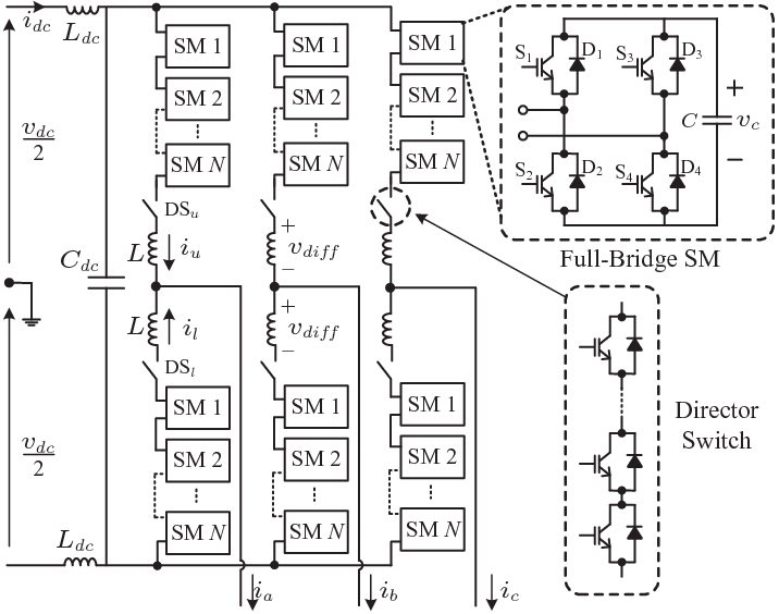 Circuit configuration of a three-phase alternate arm