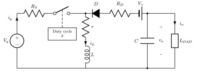 Buck-boost converter circuit with main nonidealities