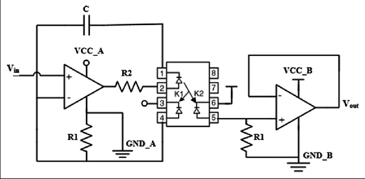 Isolation circuit based on IL300 to avoid interference of