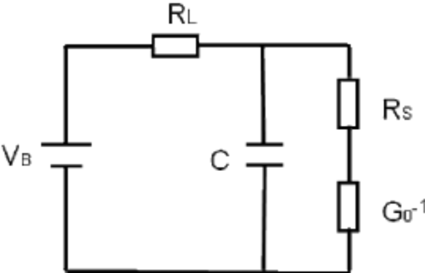 Equivalent electronic circuit diagram of the photomixer