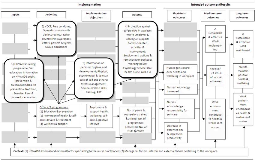 Logic model for an evaluation framework reflecting HIV