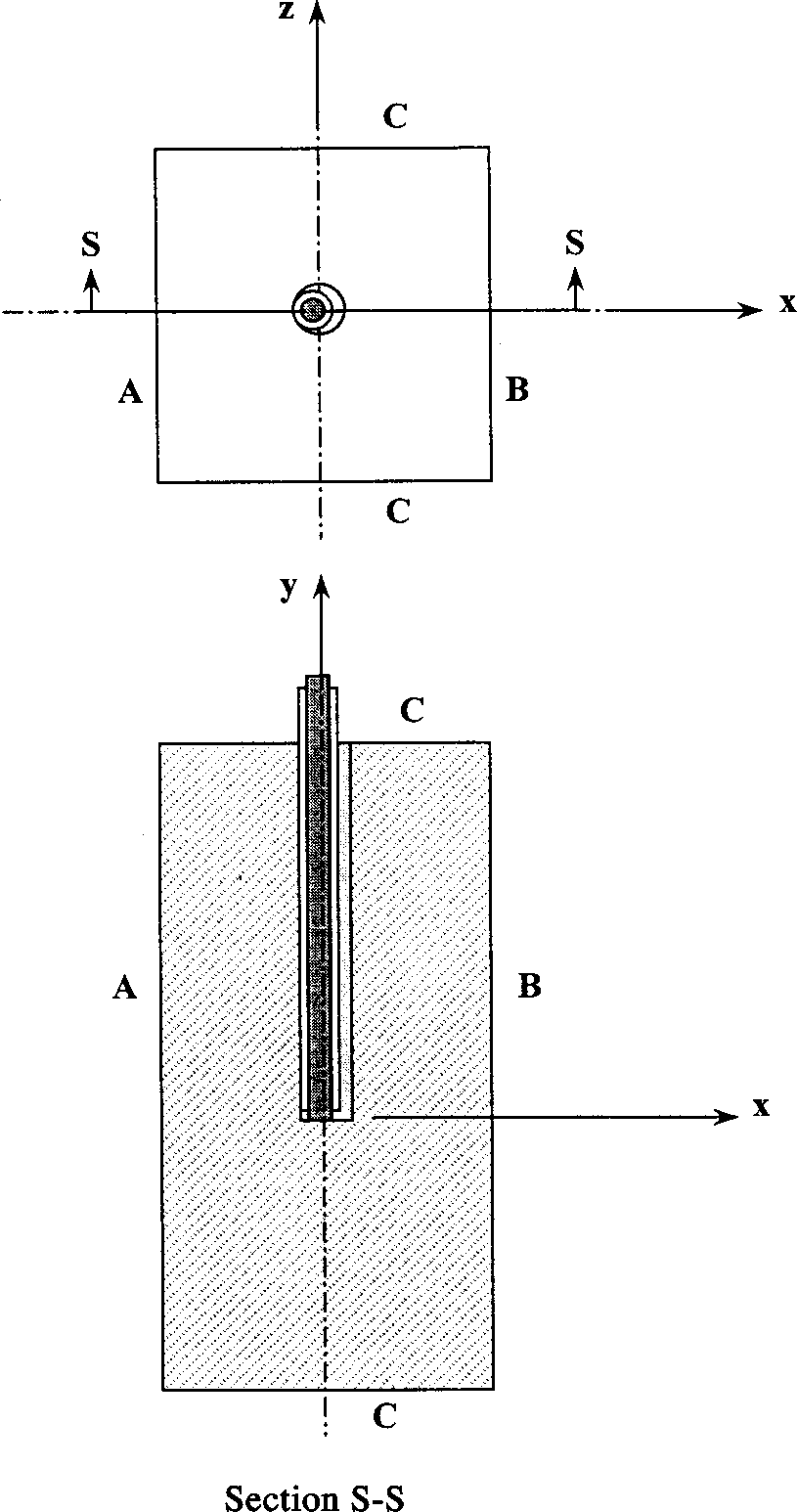 hight resolution of schematic representation of the orientation of the thermocouple installation in relation to the hot and cold