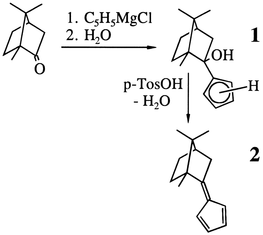 Scheme 1. Reaction of (1R)-camphor with
