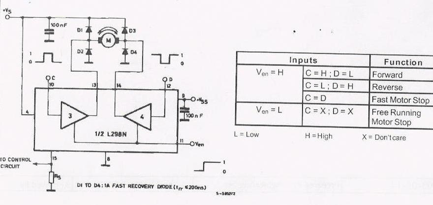 Picture of L298 circuit in bidirectional DC motor control