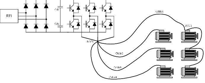 PWM voltage-source AC-drive (FC 101 power circuit) feeding