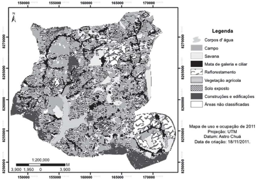 Mapa de uso e ocupação do solo da Bacia do Descoberto do