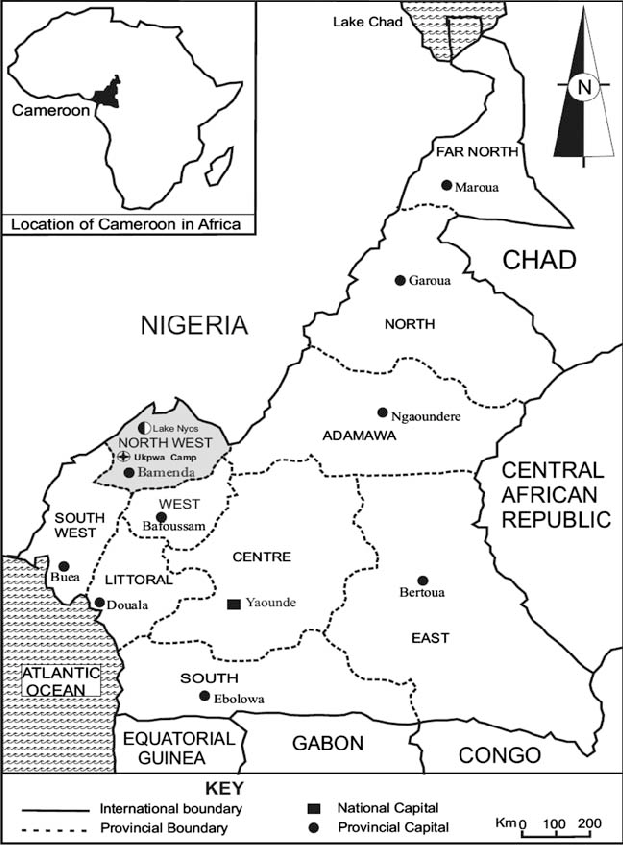 Map of Cameroon showing location of Lake Nyos and study
