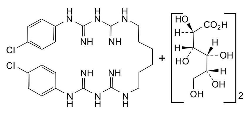 Chemical structure of chlorhexidine digluconate (CAS