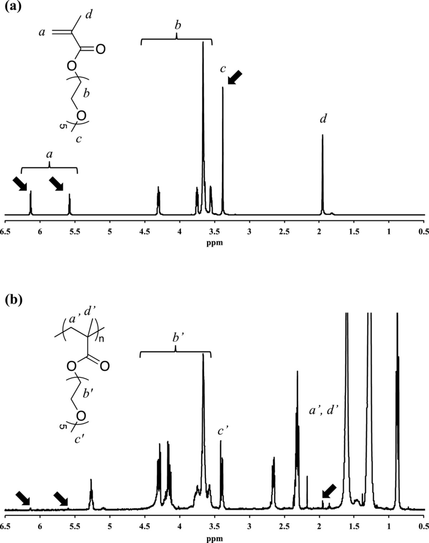 hight resolution of 1 h nmr spectra of a mepegma monomer and b p