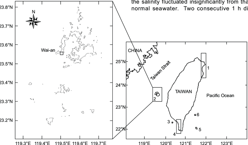 Locations Of The General Survey Areas In Taiwan And Adjacent