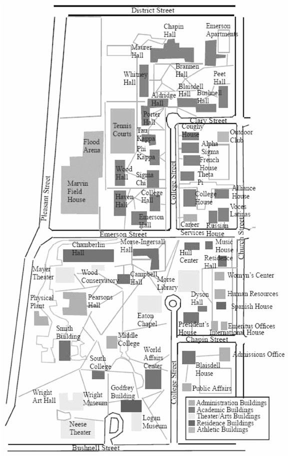 The final adaptation of the Beloit College campus map, in