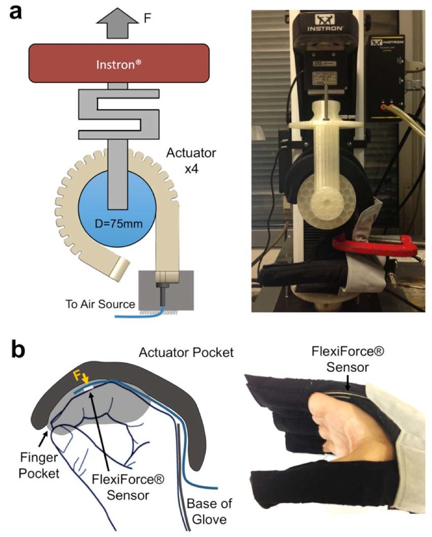 hight resolution of force setup to measure a total grip force applied by four actuators during pressurization