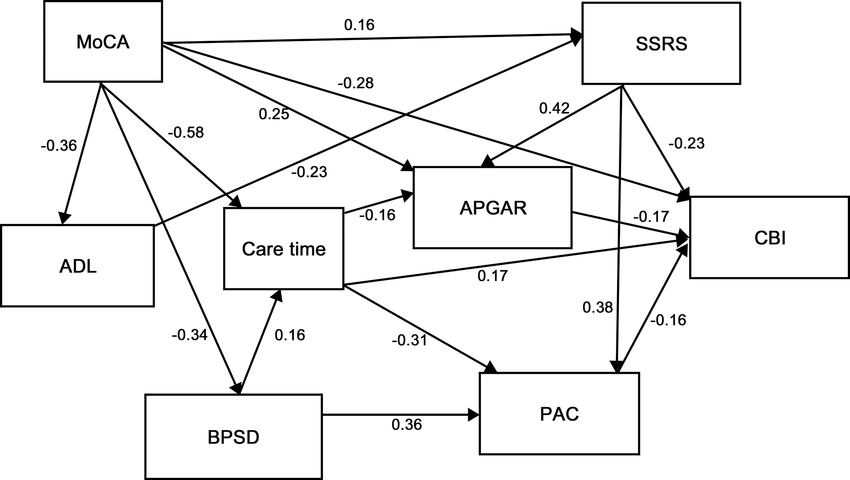 Path analysis plot with standardized coefficients. Only