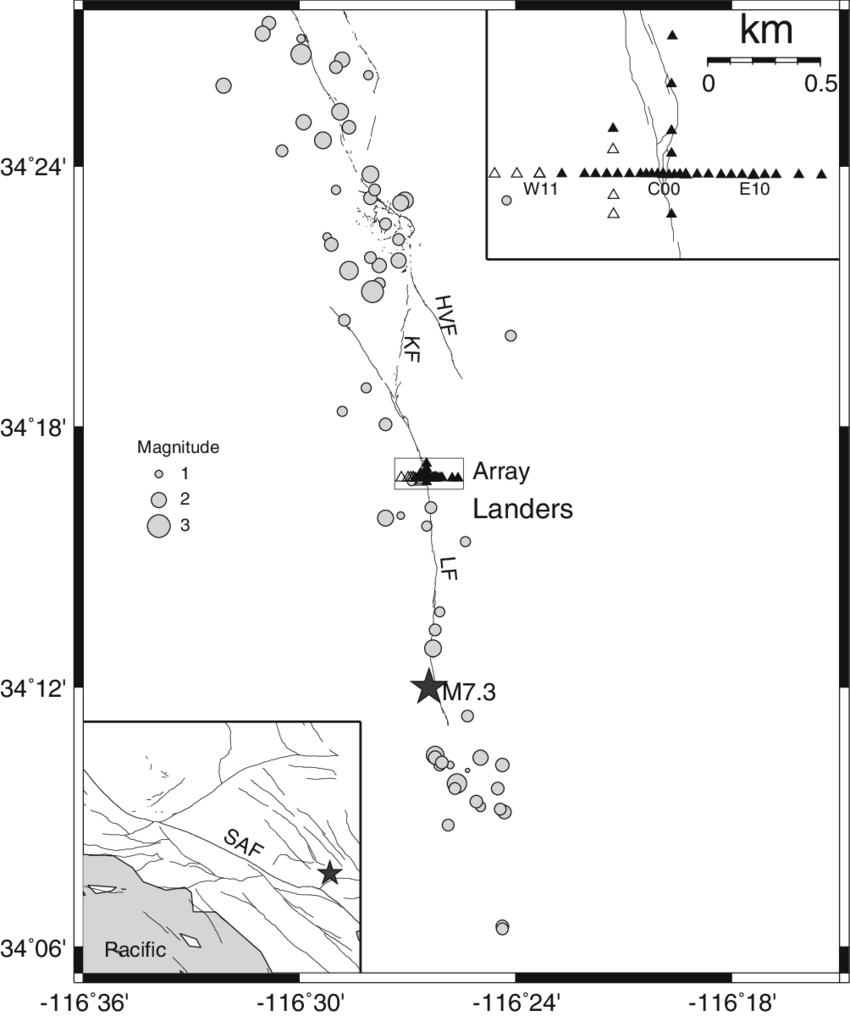 Epicenters of 64 aftershocks (circles) of the 1992 Landers