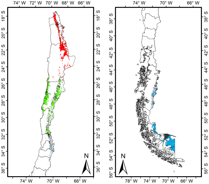 Map of geographic distribution range of guanaco linages in
