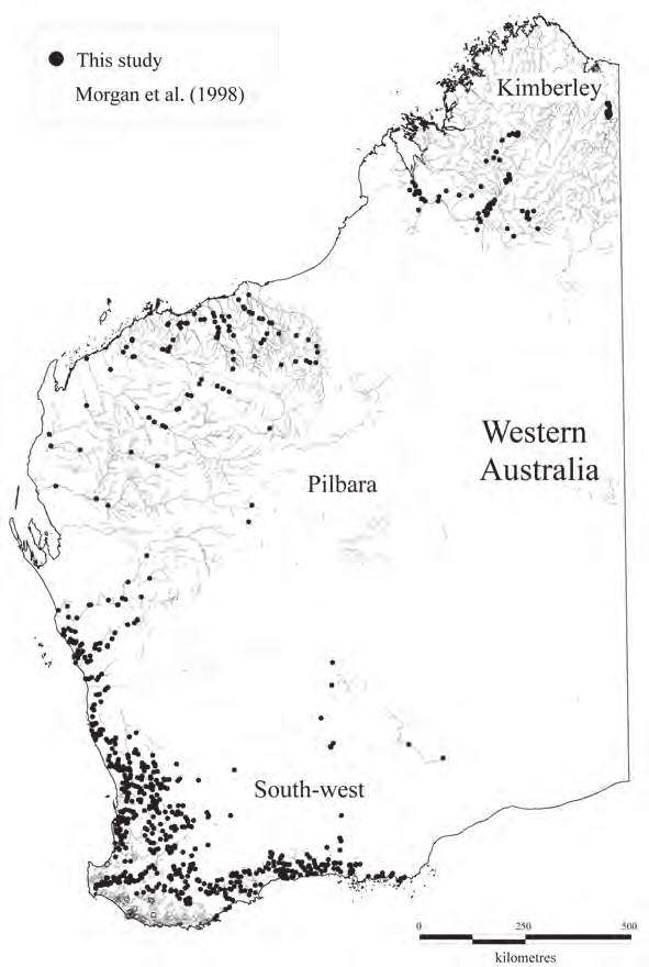 Sites sampled for fish in the south-west, Pilbara