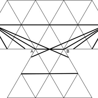 A paper model with six equilateral triangles around one