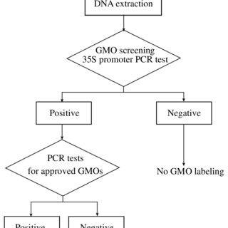 Flow chart of PCR method for detection of GMO in foods