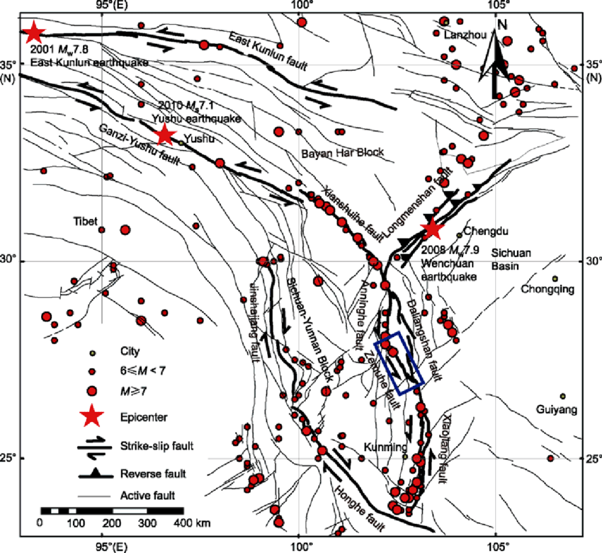 The distribution of active faults in southeastern area of