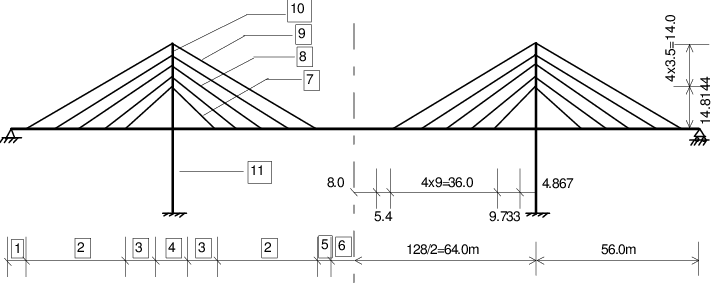 Elevation and dimension of fan-system cable-stayed bridge