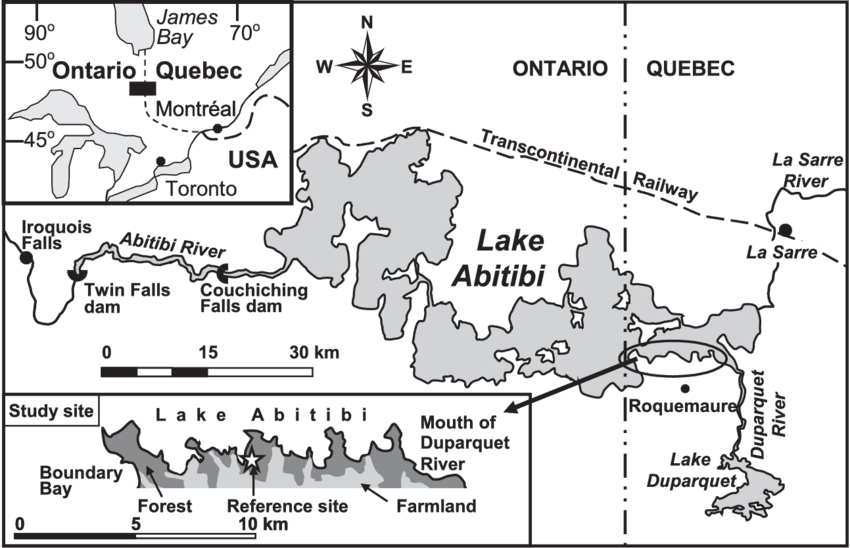 Map of the Lake Abitibi area in the southern boreal region