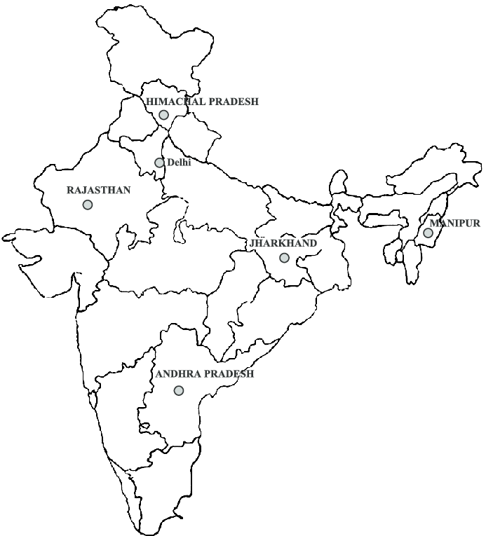 Outline map of India showing the geographical locations of