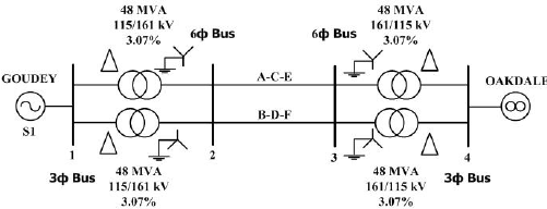 One-line diagram of converted double-circuit three-phase