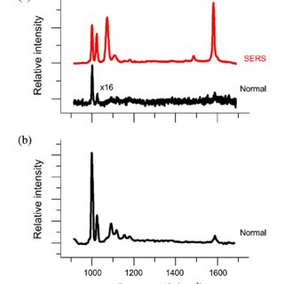 (a) Comparison of the normal Raman spectrum of pure