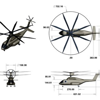 Illustration of military aircraft using coaxial, lift