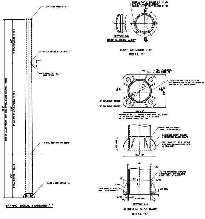 NJDOT detail for vertical aluminum pole for traffic light