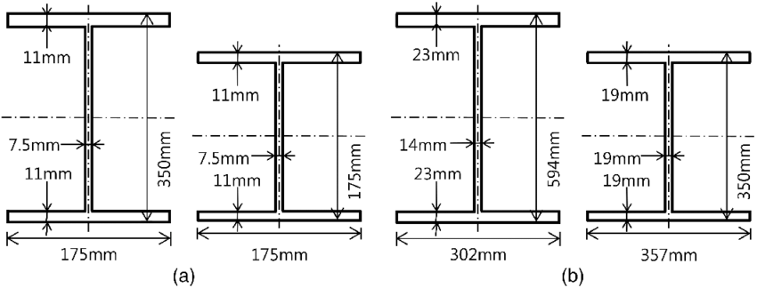 Cross-sectional dimensions of the beams and columns of