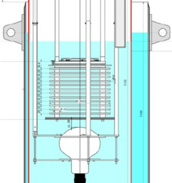 schematic drawing of the detector set up the tpc mounted with the drift coordinate vertically the pmt and the relative supports are housed in a  [ 850 x 1667 Pixel ]