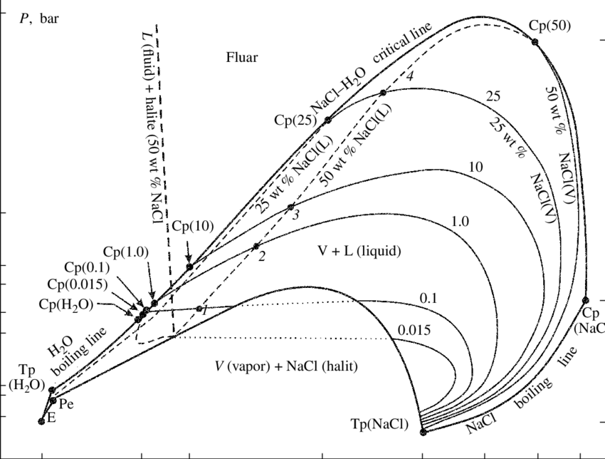 Schematic P-T projection of the phase diagram of the NaCl