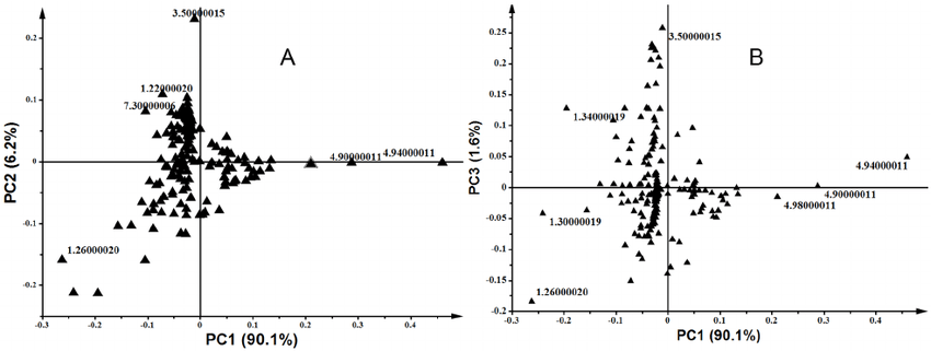 Principal component analysis (PCA) loadings plots of 1 H