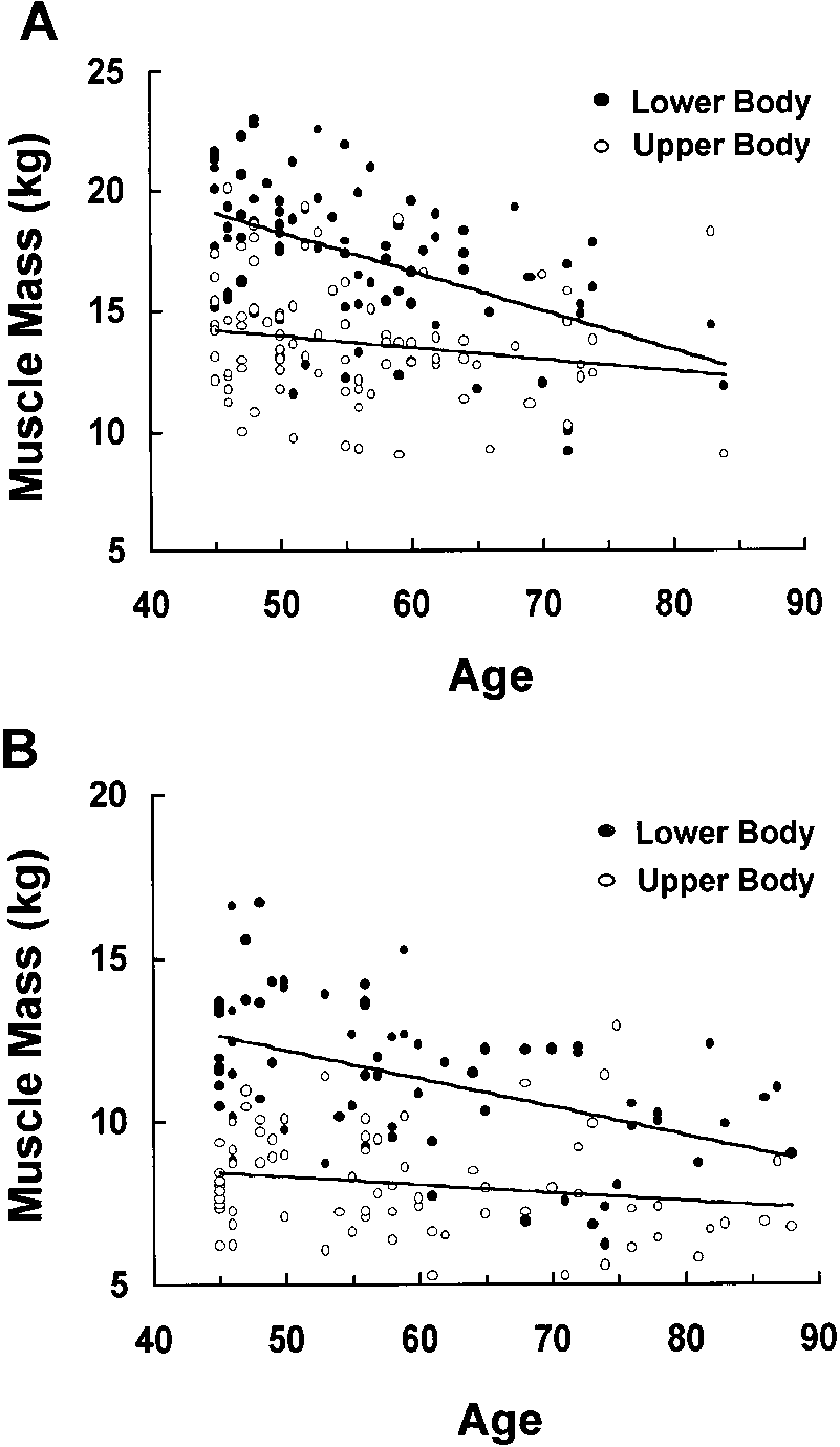 medium resolution of a relationship between upper body and lower body sm mass in men aged download scientific diagram