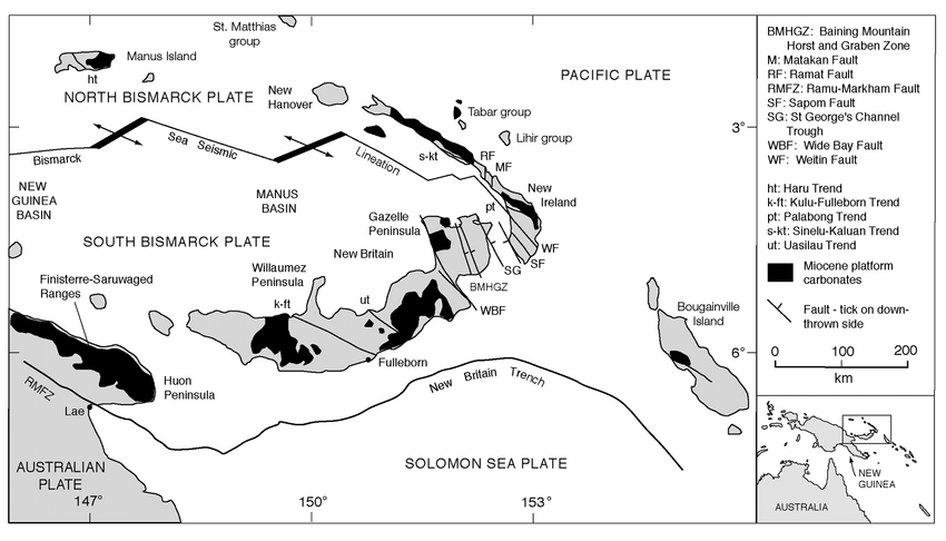 1. Tectonic map of the New Guinea islands, Papua New