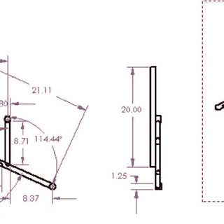Caster member engineering drawing, Side (left) and back